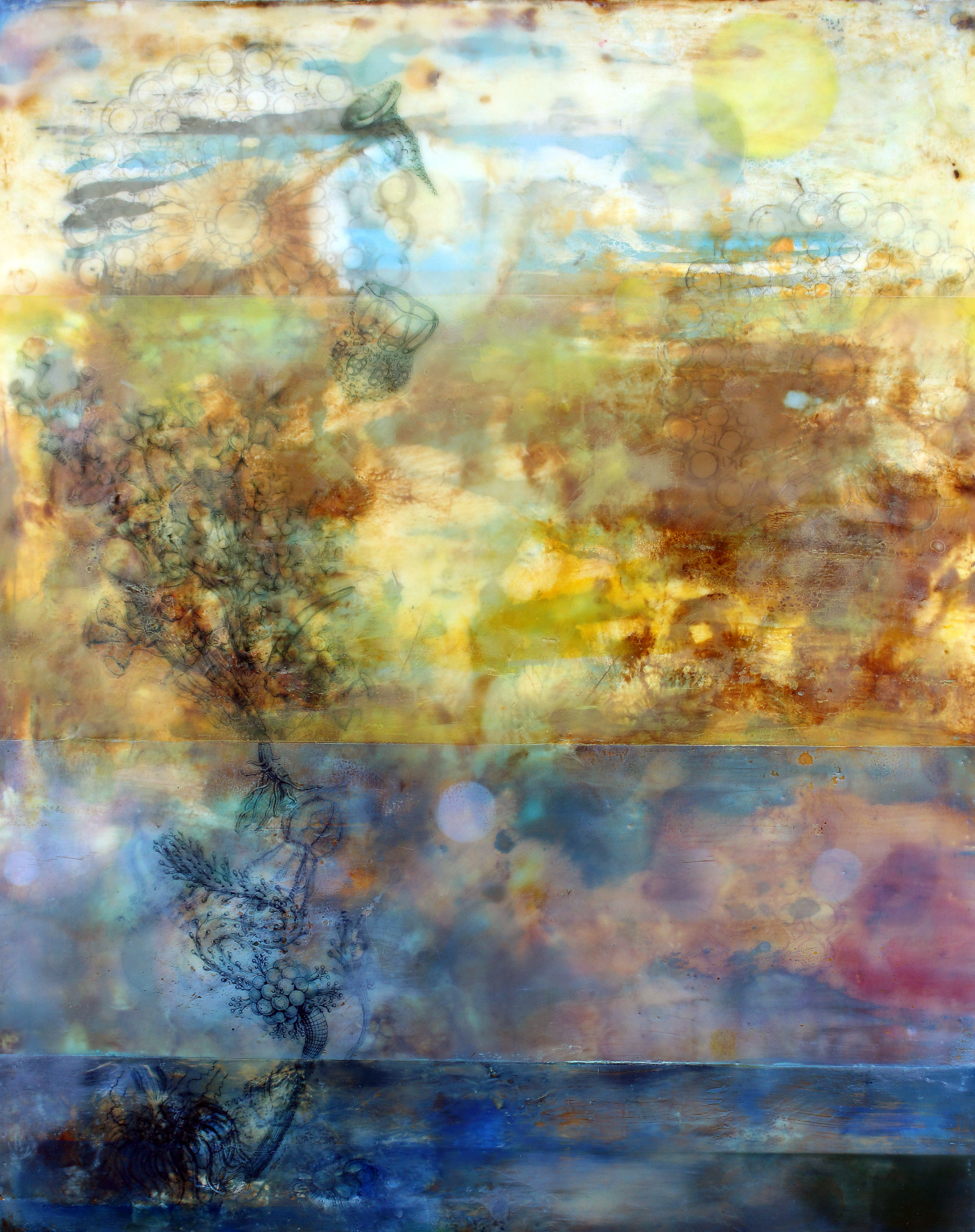 "View Image Details FULL MOON 2014 Oil paint, powdered pigments, inks and encaustic on birch panel, 20"" x 17"" x 2.5"""
