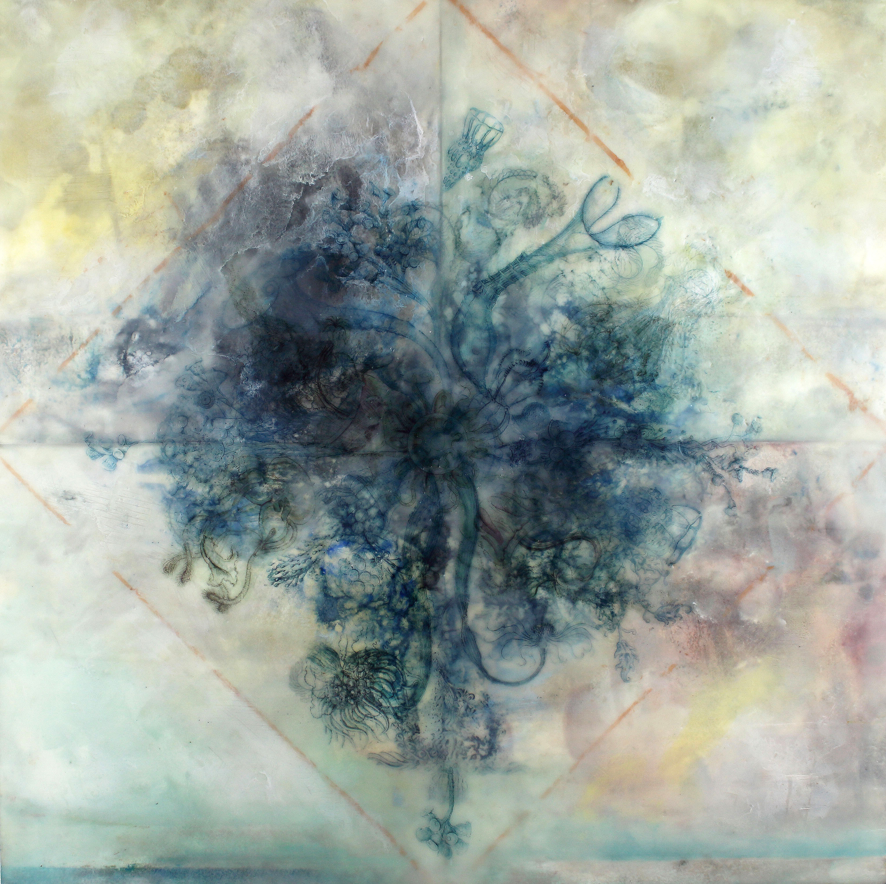 "View Image Details PRIMORDIAL TANGLE (FLOWER TORNADO), 2014 Oil paints, powdered pigments, inks, encaustic on paper mounted on birch panel, 20"" x 2"