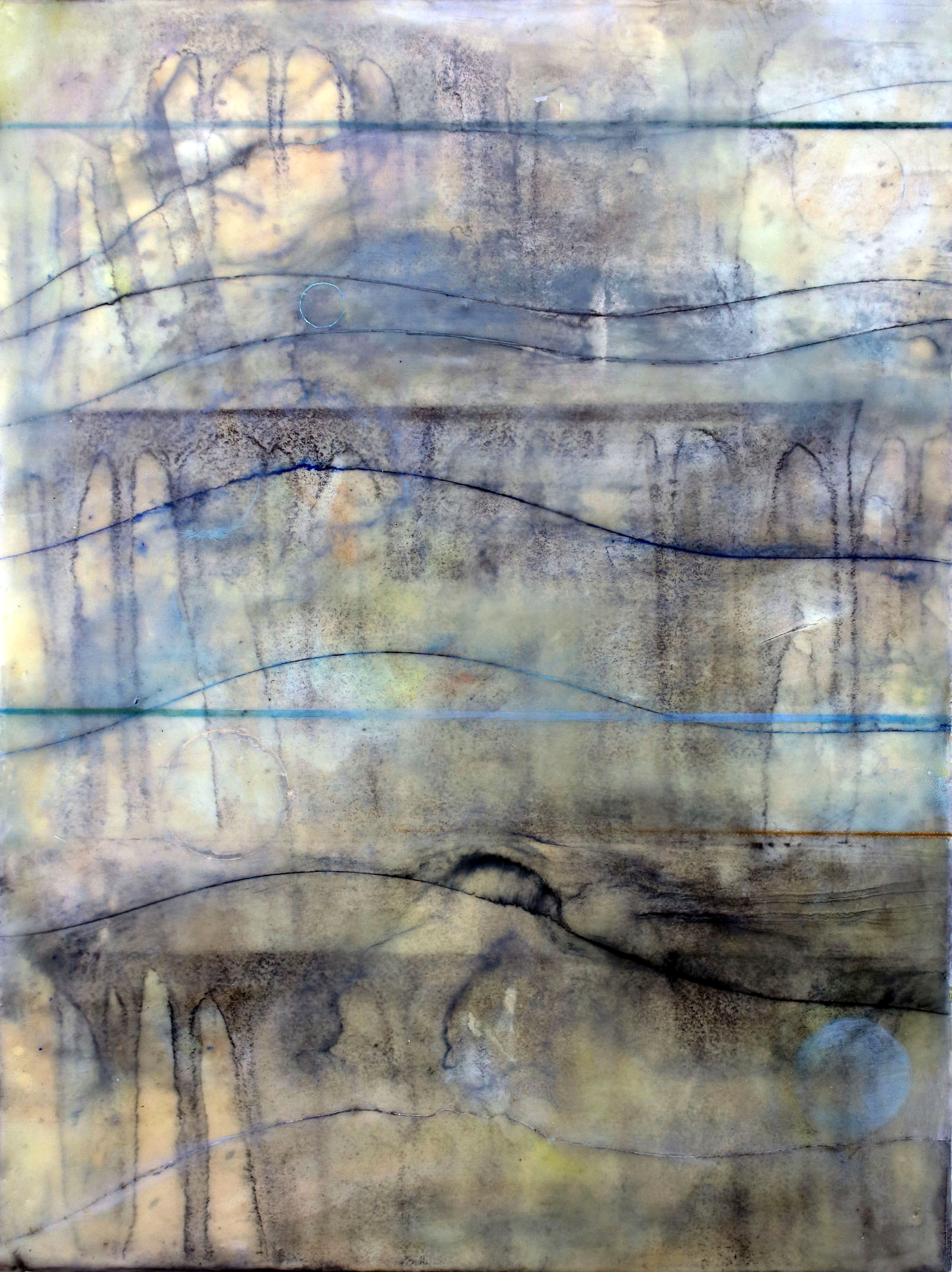 View Image Details HIGH TIDE, 2014, Oil paints, powdered graphite, powdered pigments, inks, encaustic on paper mounted on birch panel,