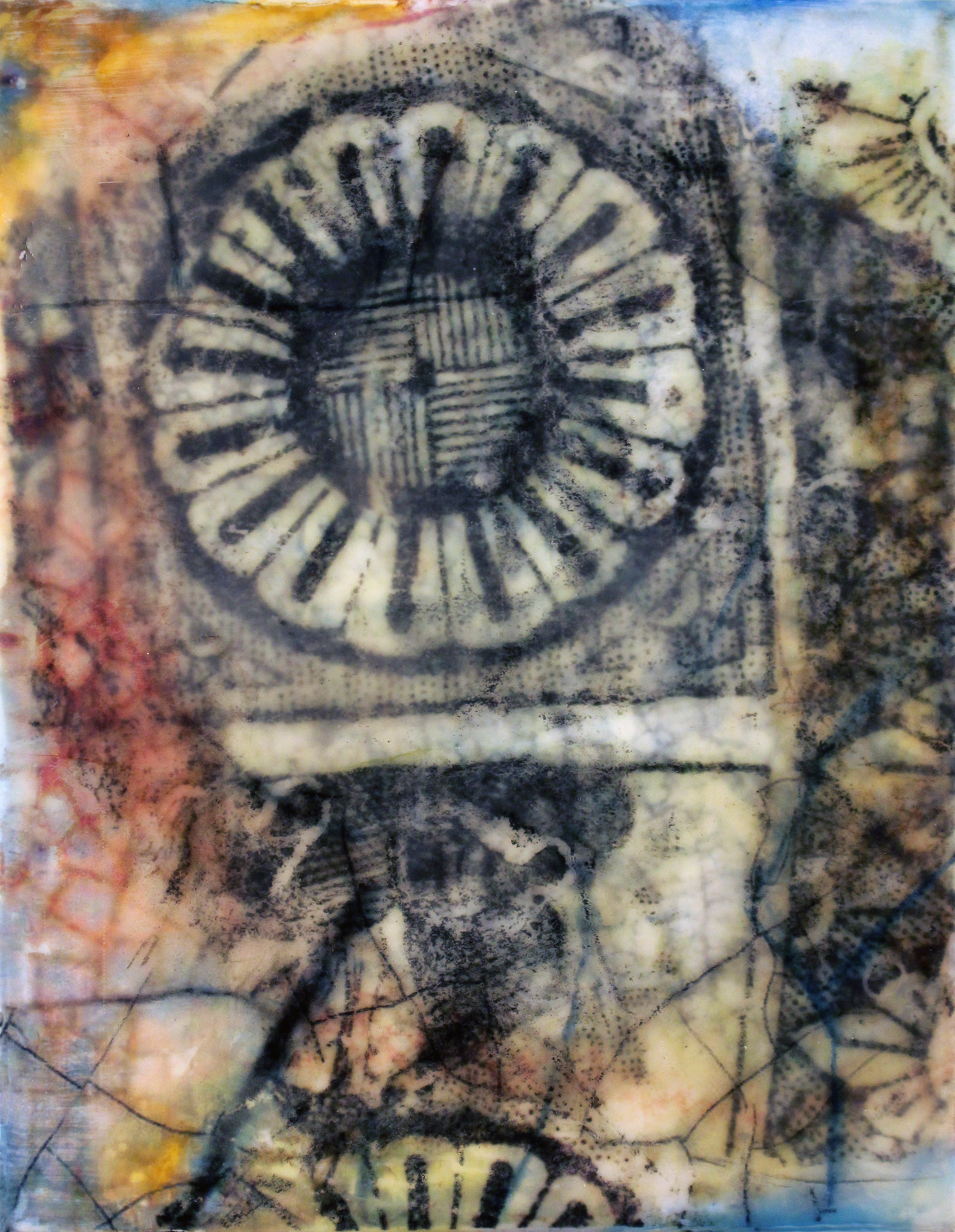 "View Image Details FRAGMENT #3, 2014 Oil paints, powdered pigments, inks, photo transfer, encaustic on birch panel, 11"" x 9"" x 2.5"" (Private Collec"