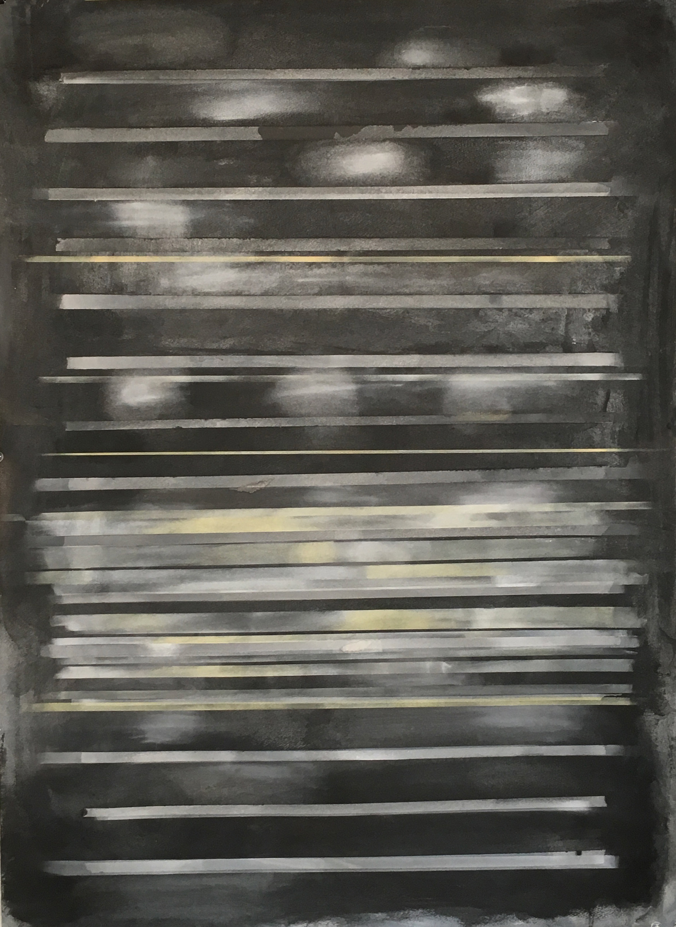 "View Image Details NIGHT, 31""x22"", 2018, Cold wax, graphite, powdered pigments, pastel on paper"