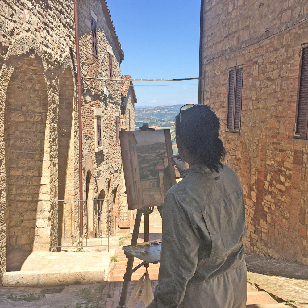View Image Details Painting in Umbria, Italy during artist residency