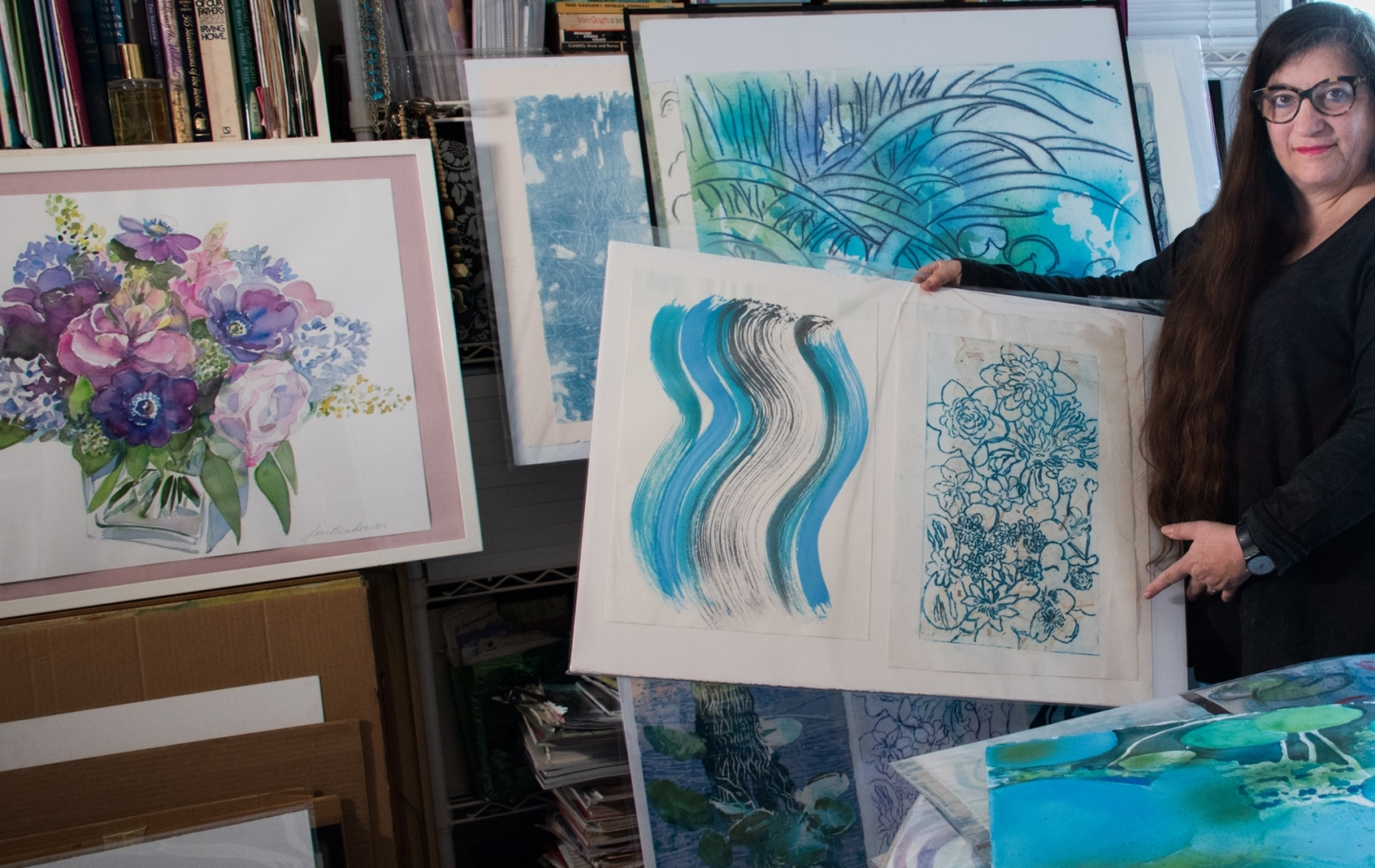 View Image Details Combined Brush and Print panels of Ponds; GardenSpiritsNYl Watercolor Floral Painting