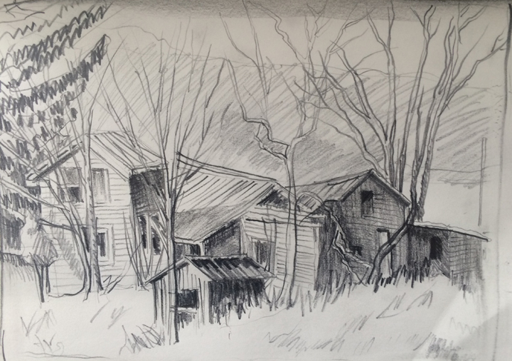 "View Image Details Haunted House Pencil on paper, 5"" x 6"""