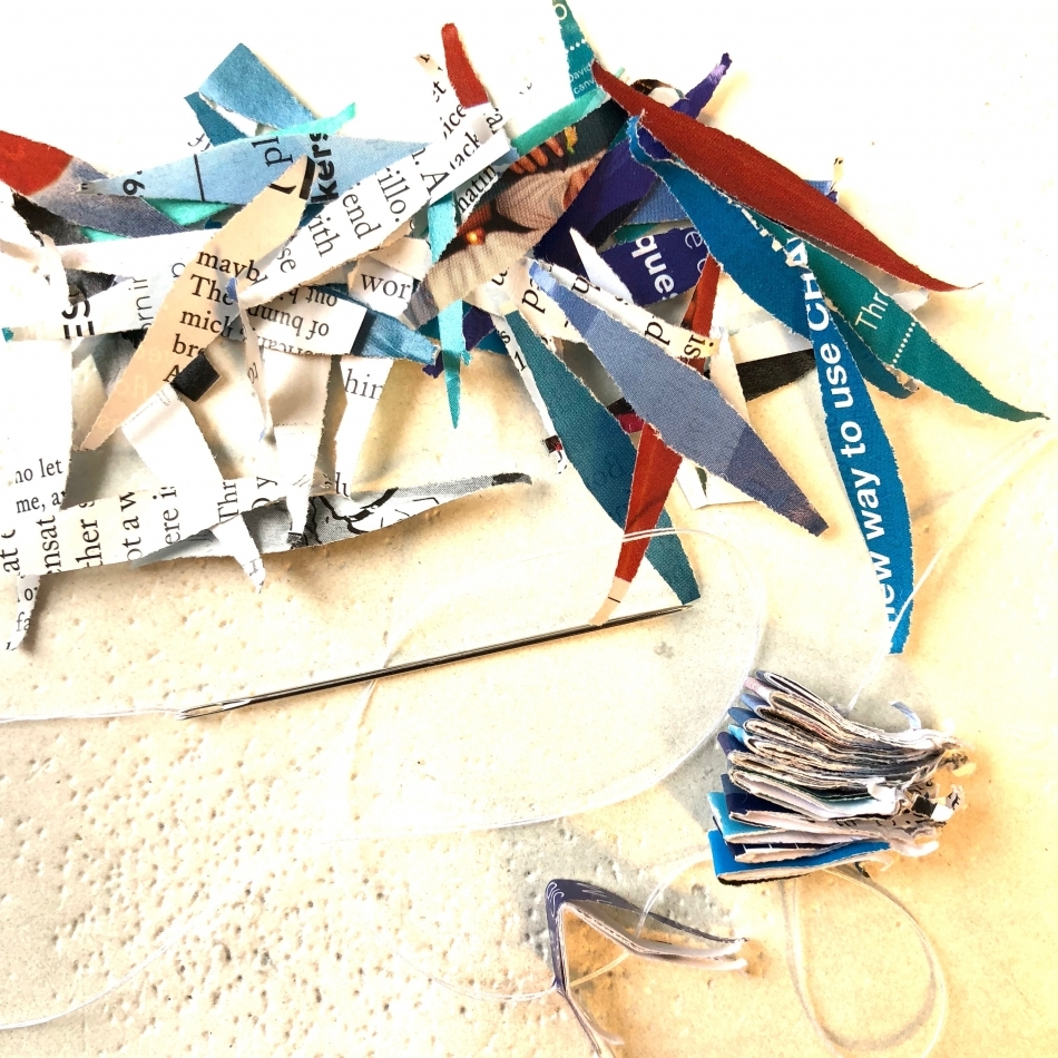 View Image Details Detail, sewing shredded mail
