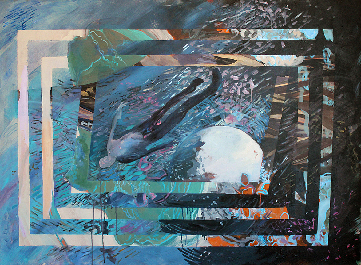 "View Image Details Lunar Phase High Tide, 42""x53"", acrylic on canvas, 2016- $2500"