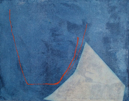 View Image Details Pale Form on Blue with Red Lines (2014)
