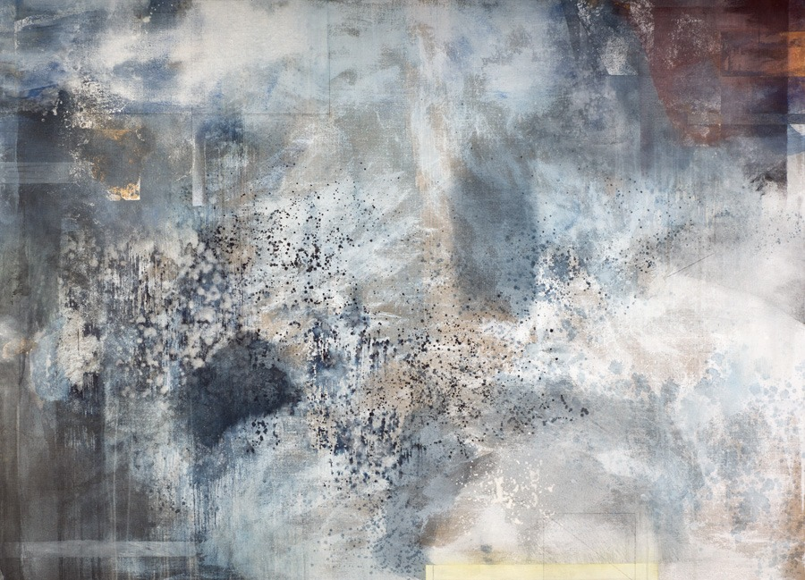 "View Image Details Getty Shadows, mineral pigments, indigo, shell white, oxidized pure silver, copper on linen, 42"" x 58"""