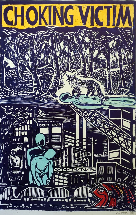 View Image Details BLUE WILLOW FOX  Linocut 18 x 12 inches