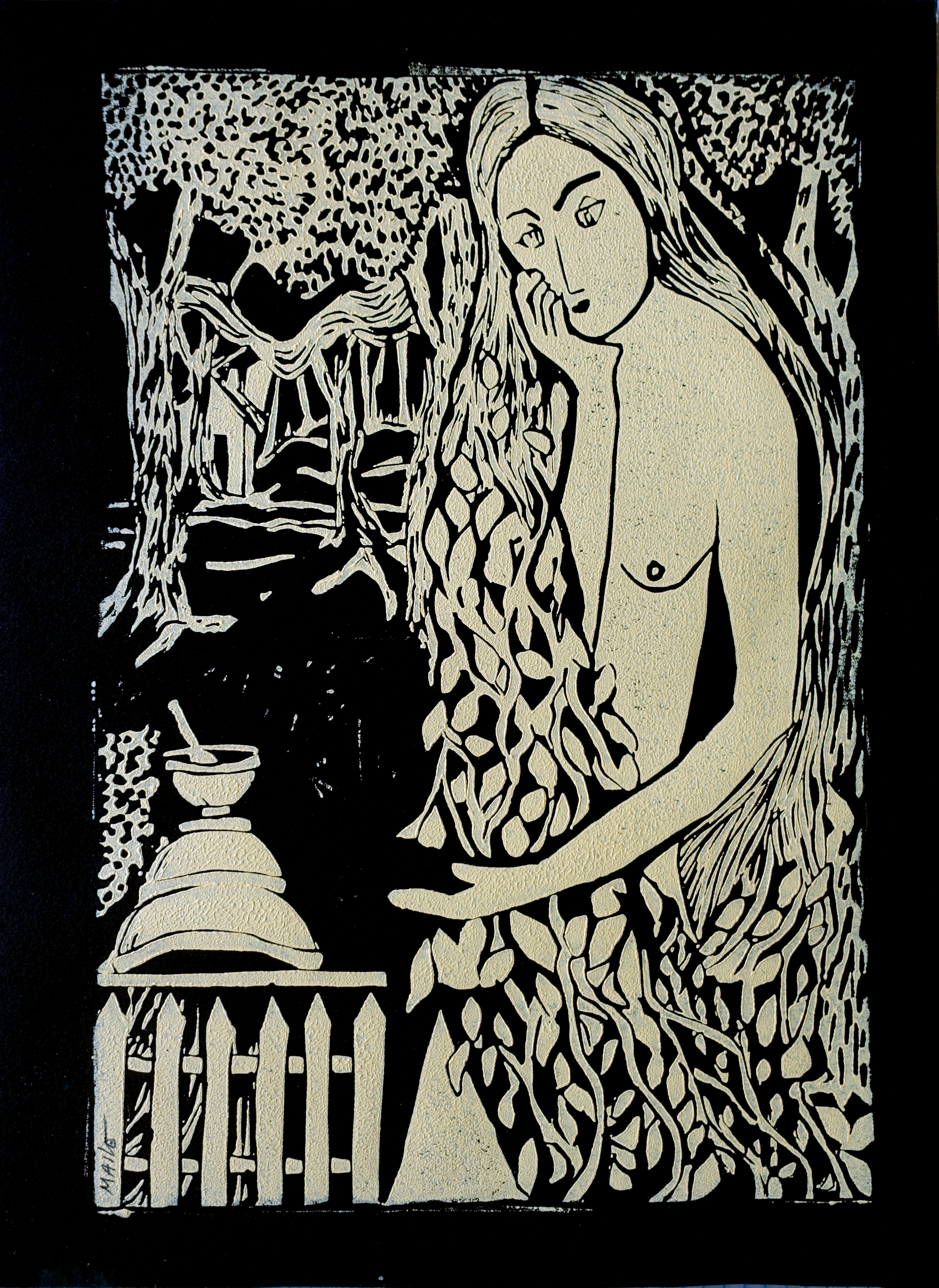 View Image Details GOLDILOCKS, LATER  Linocut 12 x 9 inches