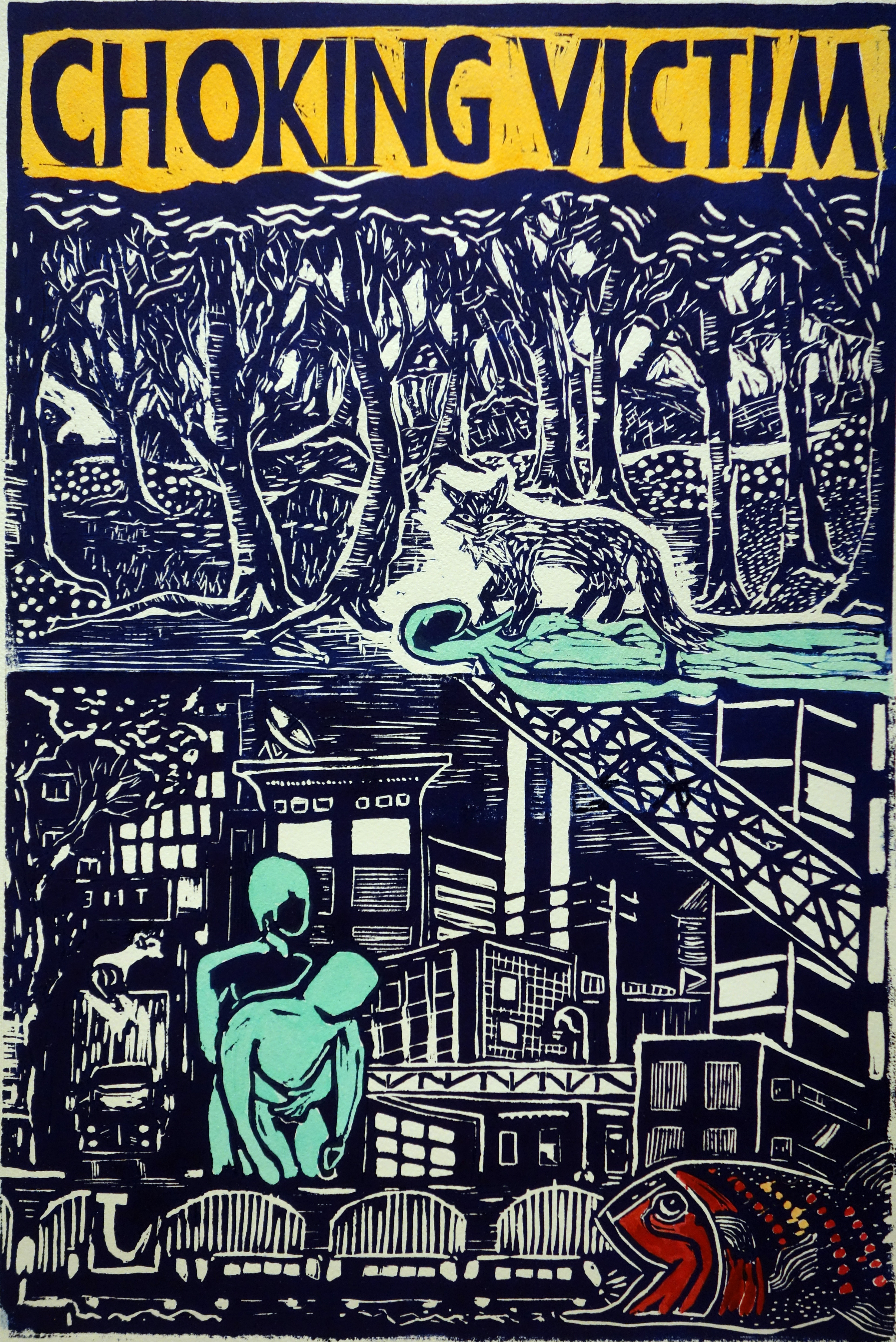 View Image Details CHOKING VICTIM linocut 12 x 18 inches