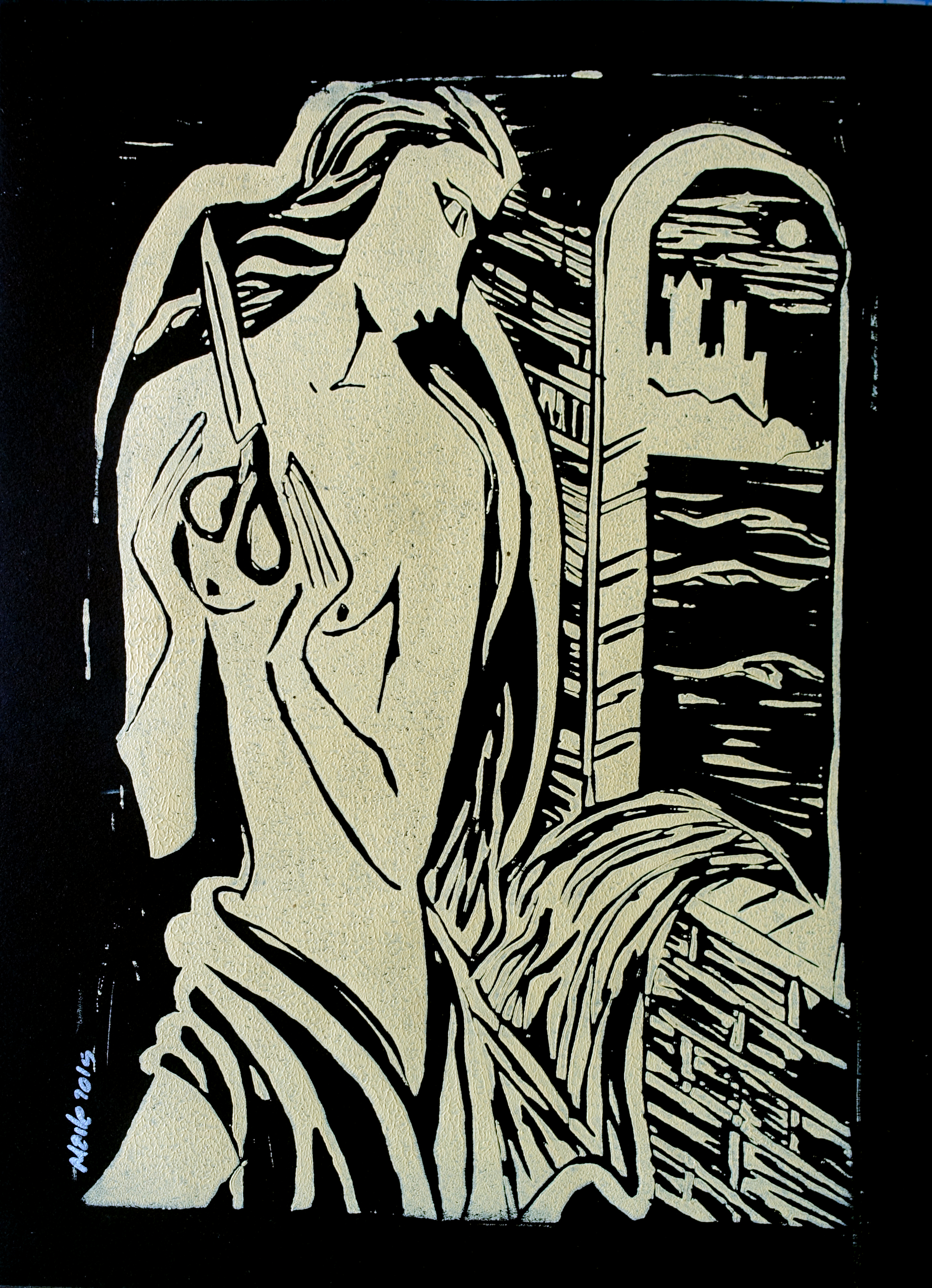 View Image Details RAPUNZEL, LATER  linocut 12 x 9 inches