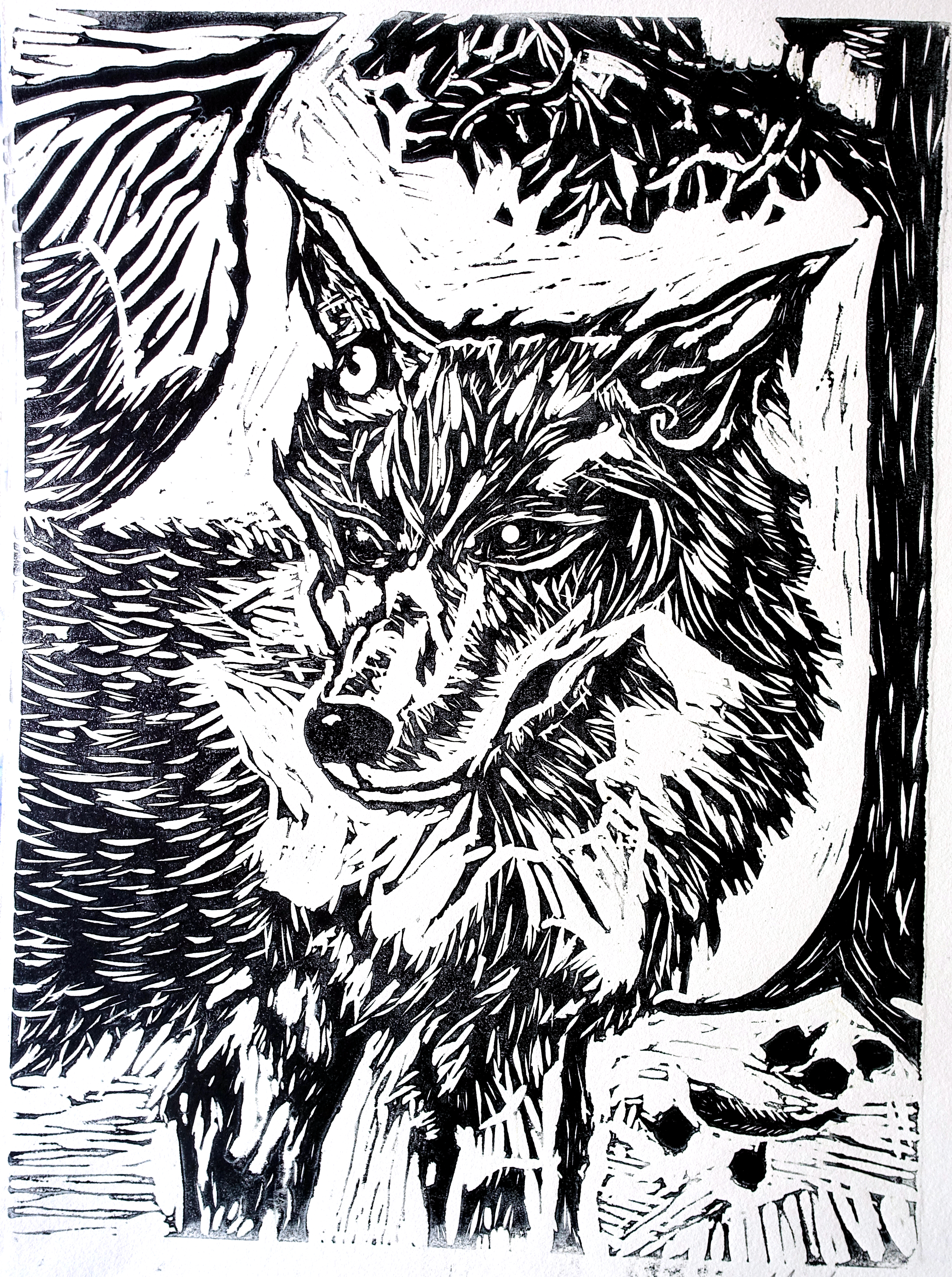 View Image Details PORTRAIT OF WOLF  linocut 12 x 9 inches