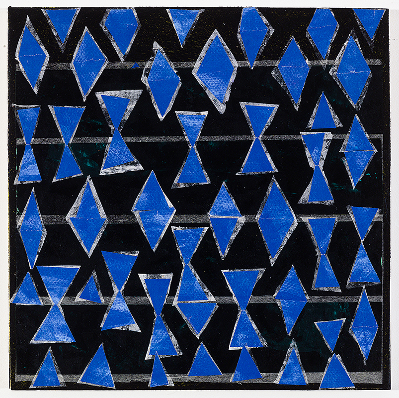 View Image Details Blue on Black, cut & pasted papers, 12x12 panel