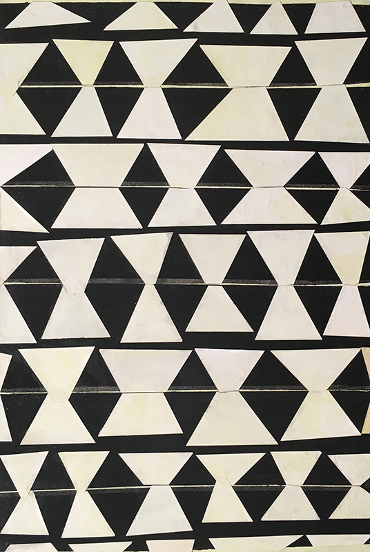 View Image Details Triangles into Diamonds White on Black, painted papers on panel, 24x16 inches