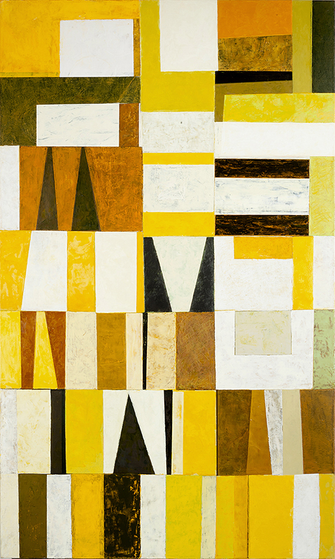 View Image Details Metro Yellow White Black Siena, acrylic on canvas, 60x36 inches