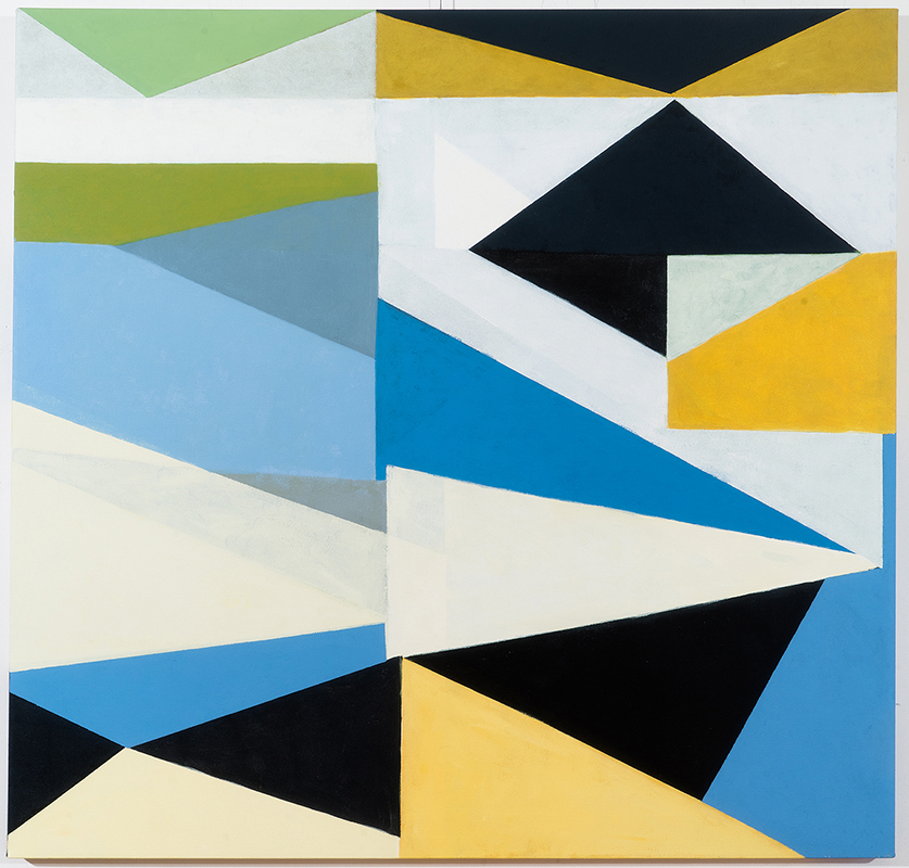 View Image Details Triangles Blue Yellow Green B&W, acrylic on canvas, 46x48 inches