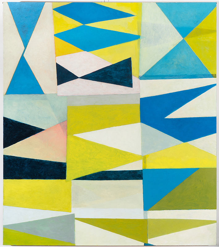 View Image Details Triangles Blue Yellow Green Pink, Acrylic and Oil on canvas, 50x46 inches