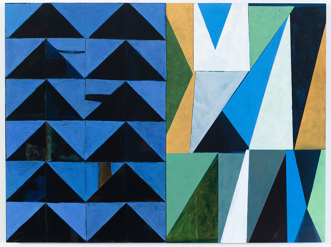 View Image Details Blue Triangle Diptych, painted papers on panel, acrylic on canvas (24x32 inches)