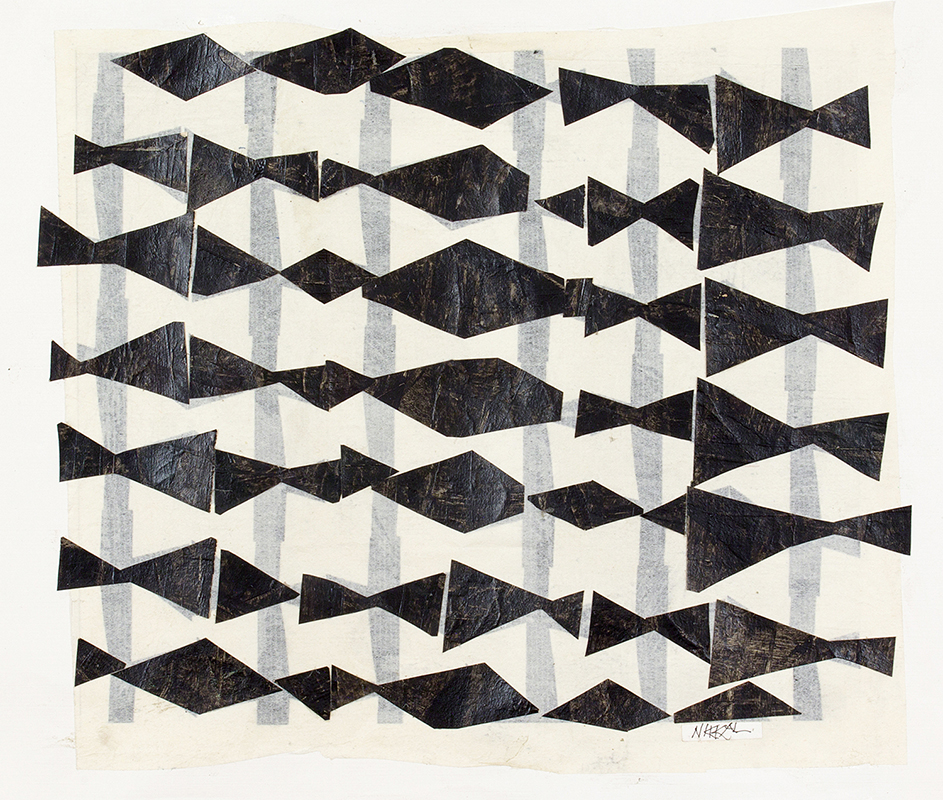View Image Details Horizontal Triangles B&W, painted papers, 16x18 inches