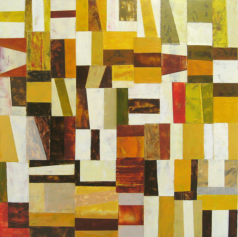 View Image Details Metro Green Yellow Brown White, painted papers on panel, 24x24 inches