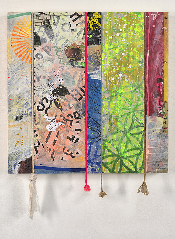 "View Image Details ""STRING THEORY""    Mixed-media collage, acrylic, rope on wood panel 18"" x 18"""