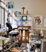 Area of the studio where I work in oils.