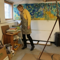 in the painting studio