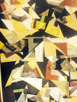 All the triangles were cut from a finished painting on paper and reassembled